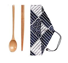 Creative Japanese-style Wood Chopsticks Spoon Set Outdoor Adult Portable,A3 - $9.86