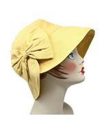 Yellow Gold Wide Brim or Cloche Style Sun Hat w Bow - Brim Down or Folde... - $24.00