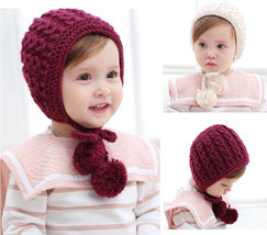 Infant Baby Girl Kids Toddler Knitted Woolen Lace Hat Cap Beanie Bonnet ... - $4.99