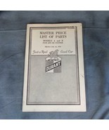 1923 Durant Master Price List of Parts Models A and B, 54 Pages - $14.95