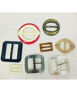 Lot of 8 Fun Vintage Plastic Multicolored Ribbon Slide Belt Buckles CUTE - $24.26