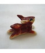 Miniature Jumping Rabbit Porcelain Brown White - $9.99
