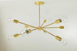 9 Arms Mid Century Modern Brass Light Chandelier Fixture - Sputnik Chand... - £242.81 GBP