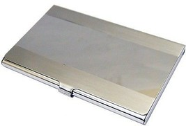 Business Name Card Holder Stainless Steel Case - Horizontal Stripe - $12.23