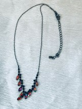 Estate Oxidized Silvertone Chain with Iridescent Red Marquise & Black Rh... - $13.99