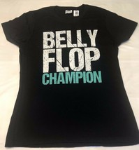 Ladies Port & Company Belly Flop Champion Black Cap Sleeve T Shirt Small - $12.73