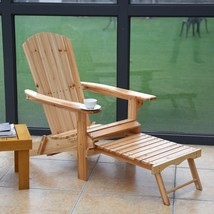 Patio Foldable Wood Adirondack Chair w/ Footrest Stool - £84.68 GBP