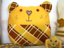 Handmade Decorative Throw pillow, yellow, home decoration,teddy bear shape - $35.00