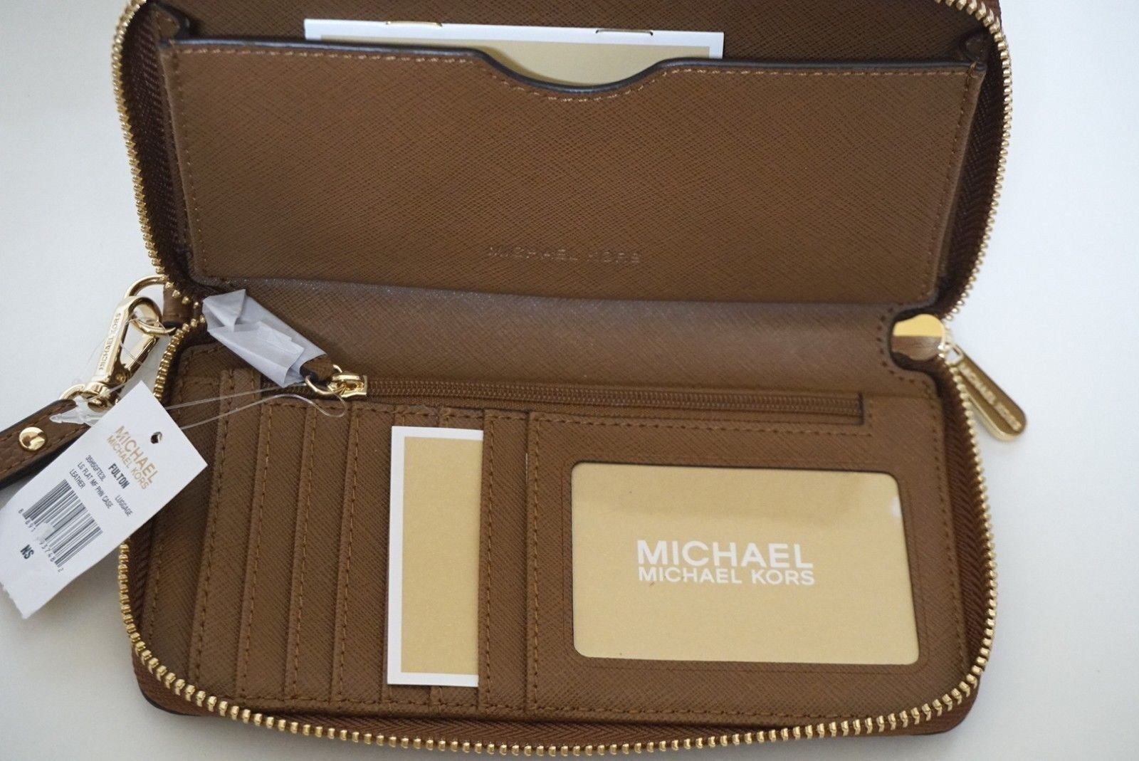 95acbc087d77bf Michael Kors Fulton Brown Pebbled Leather Large Flat Phone Case Wallet  Wristlet