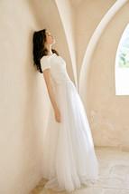 Rose Pink Wedding Tulle Skirt with Train Wedding Tulle Skirt Tulle Bridal Tutu image 8