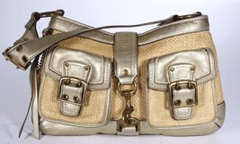 Coach Straw & Gold Leather Legacy Double Pocket Shoulder Handbag - $43.99