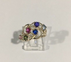 10k Yellow Gold Women's Multi Color Birthstone Cocktail Ring - $121.54