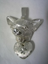 CHIHUAHUA DOG PENDANT BRUSHED AND DIAMOND CUT FINISHED HEART IN STERLING... - $44.50