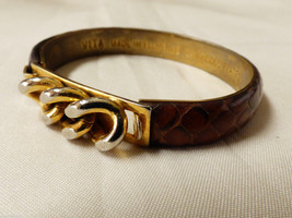 VTG VITA Florence Italy Jewelry Brown Leather Snakeskin 24 KT GP bangle Bracelet - $23.76