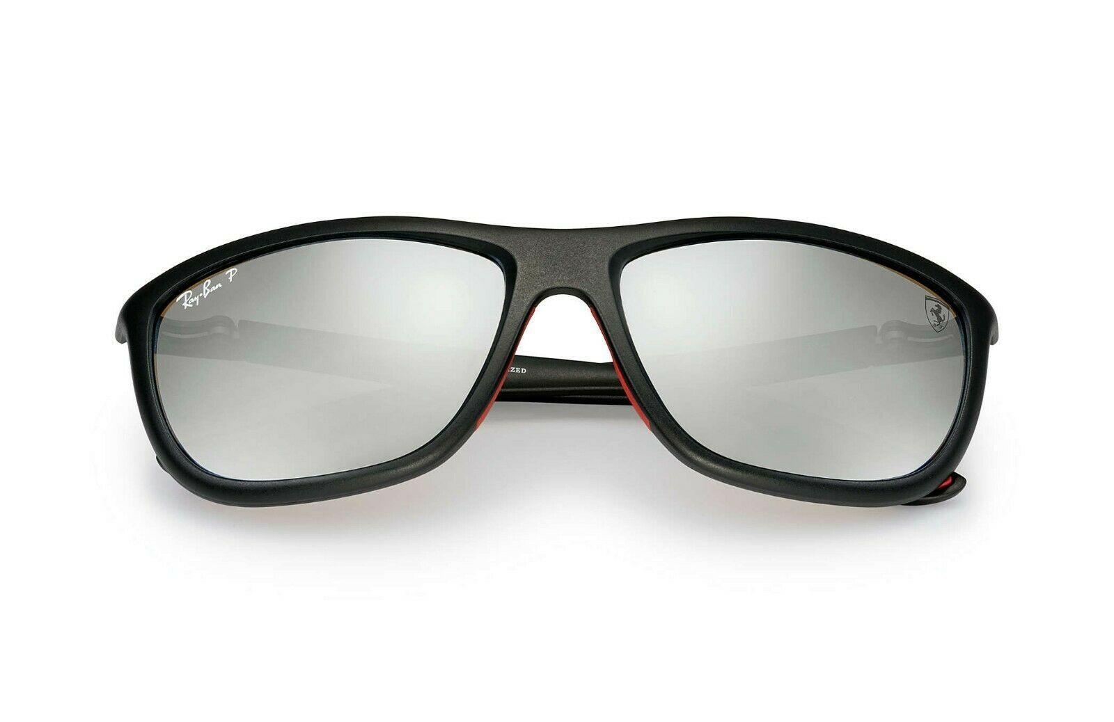Ray Ban RB8351M F602H3 60 Ferrari Collection Sunglasses Black, Polarized Silver