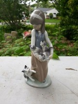 Lladro 1309 Girl With Cat and Kittens No Box Flawless - $123.75