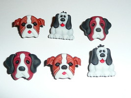 Adorable Dogs Puppy 3D Detailed Realistic Plastic Shank Buttons (6) 3/4 ... - $5.29