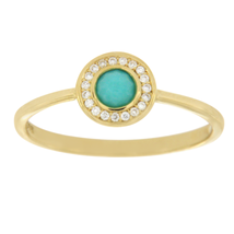 Ippolita 18K Gold Lollipop Mini Turquoise & Diamond Ring Size 7 » U515 - £300.01 GBP