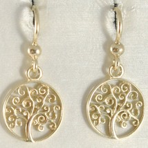 18K YELLOW GOLD PENDANT EARRINGS WITH BEAUTIFUL TREE OF LIFE, MADE IN ITALY image 1