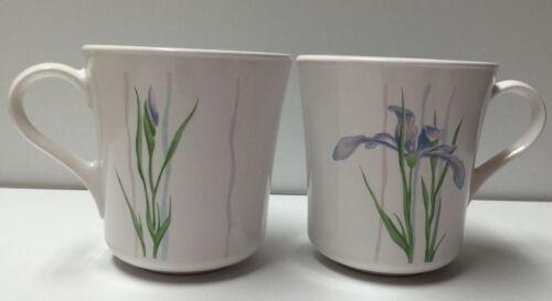 Lot Of 2 Vintage Corningware Shadow Iris Purple Flower Coffee Tea Mugs Cups USA - $9.89