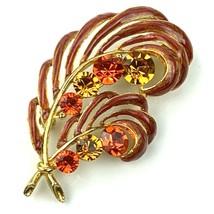 Vtg M. JENT GoldToned Double Leaf Brooch Enamel Pin Crystals Rust Orange - $18.66