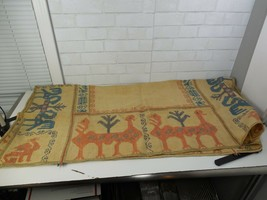 Vintage South American Peruvian Needlework Tapestry or Table Cloth Very ... - $49.95
