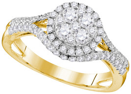 10k Yellow Gold Round Diamond Cluster Bridal Wedding Engagement Ring 1.0... - $1,259.00