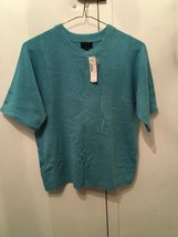 NWT $200 J. CREW Italian Cashmere Women Short Sleeve Blue Sweater Top SZ... - $62.89