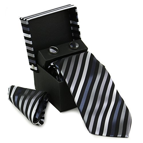 Berlioni Men's Silk Neck Tie Box Set With Cufflinks & Pocket Square (2076 - Blac