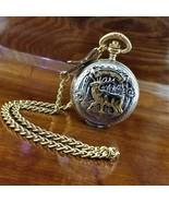 Vintage REMINGTON 3D Forest & Buck Silver & Gold Etched Pocket Watch wit... - $79.95