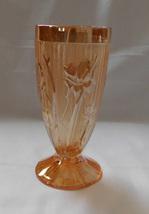 Jeanette Glass Iris Herringbone Marigold Iridescent Carnival 6 In Footed Tumbler - $7.99