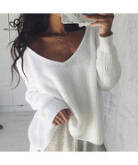 Bella Philosophy 2018 Autumn winter Sexy off shoulder split knitted swea... - $44.99