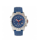 Morphic M36 Series Leather-Band Chronograph Watch - Silver/Blue - $490.00