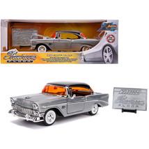 1956 Chevrolet Bel Air Raw Metal with Black Top Showroom Floor Jada 20th... - $41.87