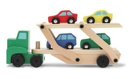 Melissa & Doug Car Carrier Truck and Cars Wooden Toy Set With 1 Truck an... - $23.74
