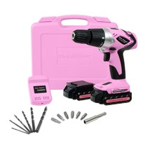 Women's 18 Volt Lithium-Ion Cordless Electric Drill Driver Kit Tool Case... - $95.60