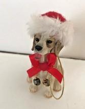 Beagle Dog Christmas Ornament Mixed Breed Spots Spaniel Rescue Santa Hat... - $19.39