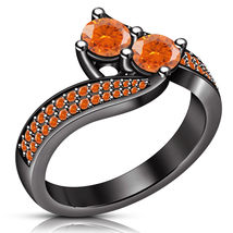 Two Stone Promise Engagement Ring Orange Sapphire Black Gold Finish 925 ... - ₨5,902.14 INR