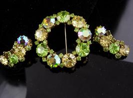 Karu Rhinestone set / green peridot aurora borealis Brooch / vintage cli... - $95.00