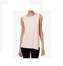 $69.5 Calvin Klein Draped Embellished Top Blush S - $47.42