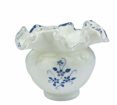 Fenton art glass figurine milk cobalt blue flower vine silver crest bowl... - $94.05