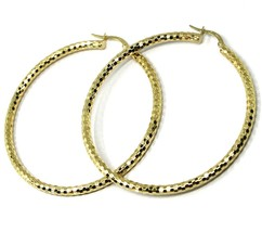 18K YELLOW GOLD CIRCLE HOOPS TUBE 3mm, BIG EARRINGS 5.5cm, SHINY FACETED SQUARES image 2