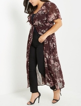 Plum Floral Duster, Plus Chiffon Duster Top, Chiffon Cardigan Layer, Plus Size