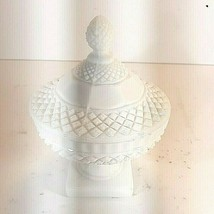 "Vtg Westmoreland English Hobnail Milk Glass Covered Candy Dish White 6 1/4"" - $21.95"