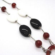 925 Silver Necklace, White Agate, Onyx, Carnelian, Pendant, Chain Rolo image 4
