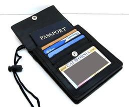 BLACK GENUINE LEATHER PASSPORT ID Holder Pouch Wallet Organizer Strap New - £7.68 GBP