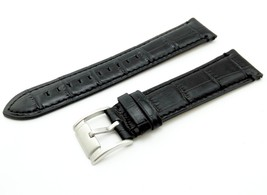 Black Cr. Strap/Band for FOSSIL Watch Genuine Leather Silver/Buckle 22mm - $20.00