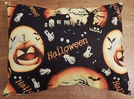 "12x10"" Halloween Throw Toss Sofa Pillow Cover Pumpkins Black Handmade USA - $8.89"
