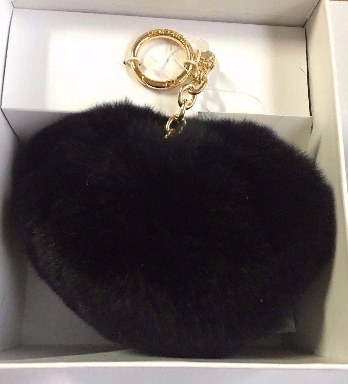 Michael Kors Rabbit Fur Teddy Bear Pom Pom Key Keyfob Keychain Black NWT