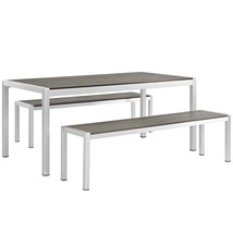 Shore 3 Piece Outdoor Patio Aluminum Dining Set Silver Gray EEI-2480-SLV... - $962.75